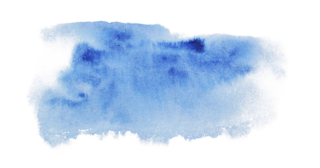 Spot of painted watercolor color in blue on a white background, hand drawing. Blue spot with watercolor with blue spots
