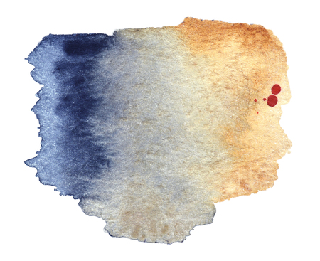 Watercolor abstract stain. The color of ocher and blue-black on a white background. Stock Photo