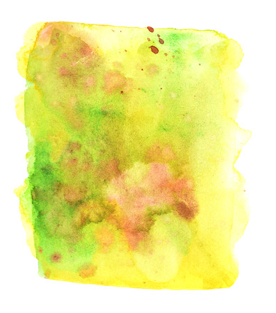 Yellow green abstract background with stains. Hand drawing watercolor. White background.