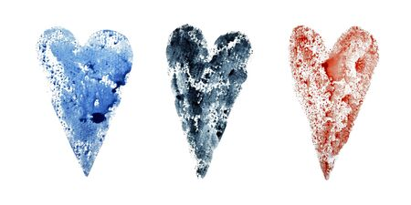 Set of three hearts of red, blue and dark blue on a white Foto de archivo - 133754235