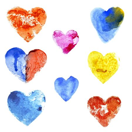 Set of hearts of different colors painted with watercolors on a white