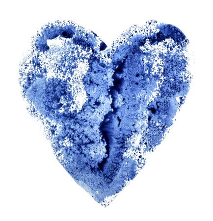 Blue heart with a texture, drawing watercolor on a white Foto de archivo - 133754174
