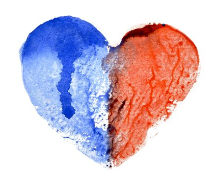 Watercolor heart half blue and half red, white