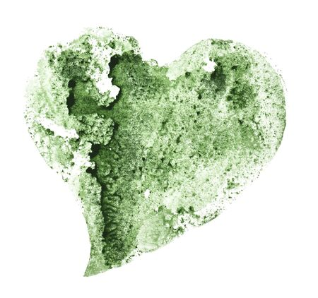 Heart of green color with a texture on a white Foto de archivo - 133754179