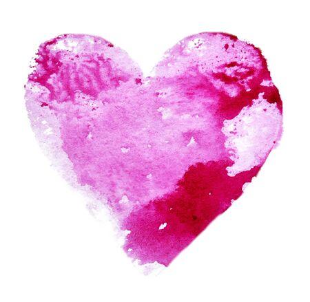 Watercolor heart of pink color on a white Foto de archivo - 133754182