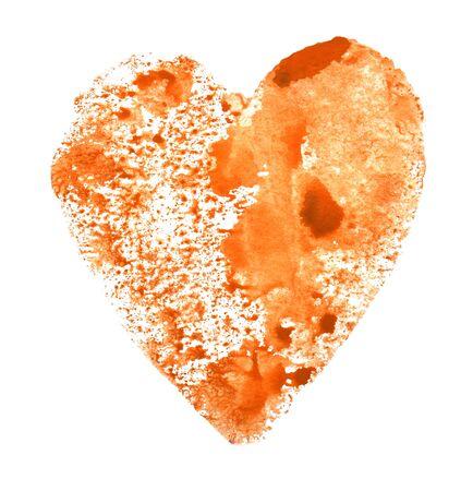Watercolor imprint of orange heart on white Foto de archivo - 133754184