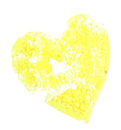 The imprint in the form of a yellow heart drawing watercolor on a white Foto de archivo - 133754191