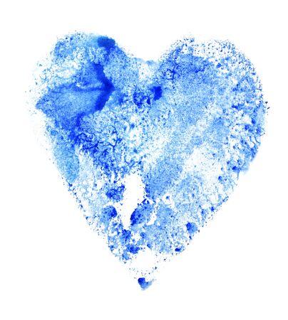 Watercolor heart shape blue color on white Foto de archivo - 133754131