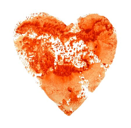 Watercolor print, red heart on a white Foto de archivo - 133754129