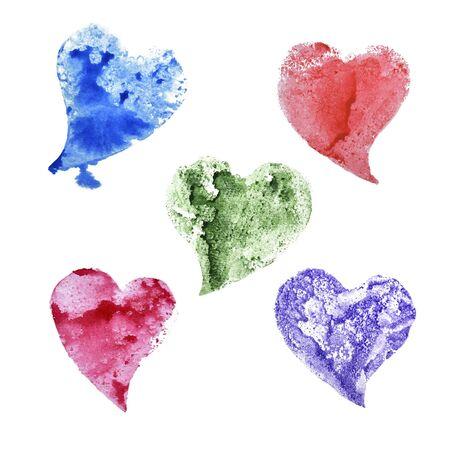 Set of hearts drawing watercolor. Foto de archivo - 133754134