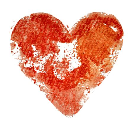 Watercolor print red heart white Foto de archivo - 133754132