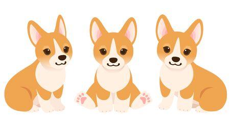 Whole body illustration set of three Corgi puppies