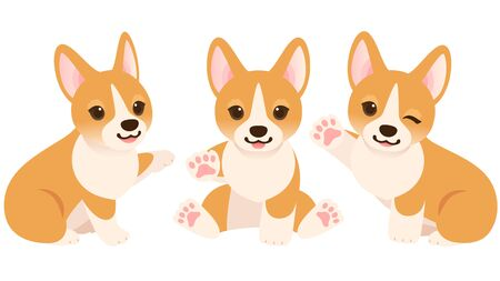 Illustration set of three Corgi puppies raising their hands Ilustração