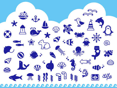 Symbolic blue icon set with the concept of the sea Illustration