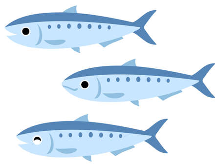 Illustration of three sardines(open mouth, closed mouth, smiling) Vettoriali