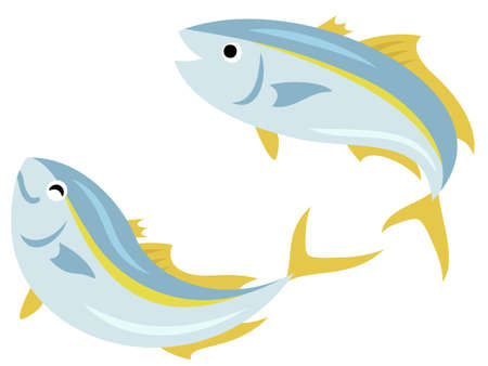 Illustration set of two yellowtails bouncing