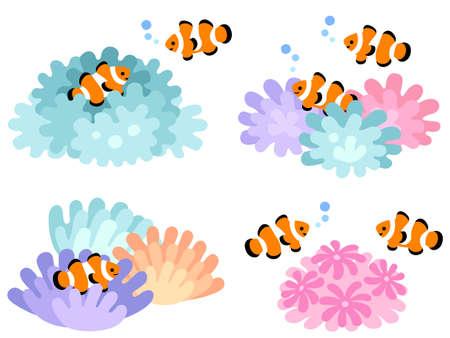 Illustration set of clown fish and sea anemones