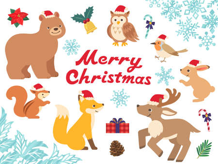 Christmas illustration set with forest animals