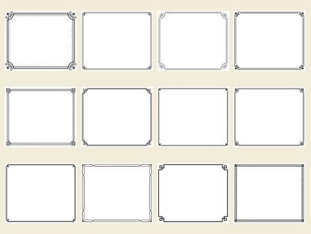 Design set of horizontal rectangular frames with retro style corner decoration