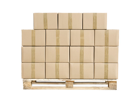 despatch: Cardboard boxes on wooden palette isolated on white + clipping path Stock Photo