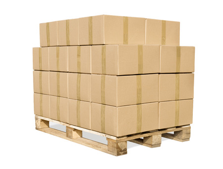 cargo container: Cardboard boxes on wooden palette isolated on white Stock Photo