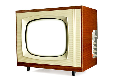 vintage television: Old vintage television with blank screen isolated on white