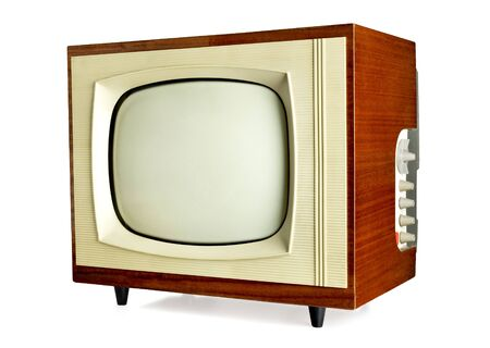 vintage television: Old vintage television isolated on white background with copy space