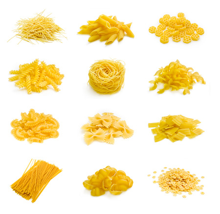 dry food: Big collection of italian pasta portion isolated on white background Stock Photo