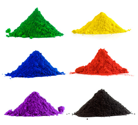Big collection of colorful powder - yellow, red, black, green, blue, violet