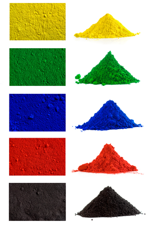 Big collection of colorful powder - yellow, red, black, green, blue Stock Photo