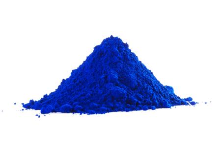 Pile of blue powder isolated on white