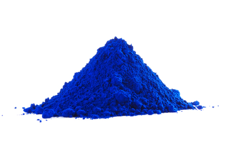white powder: Pile of blue powder isolated on white