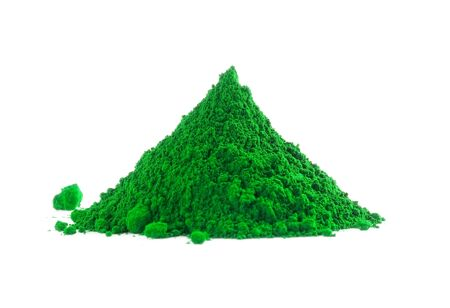 green powder: Pile of green powder isolated on white