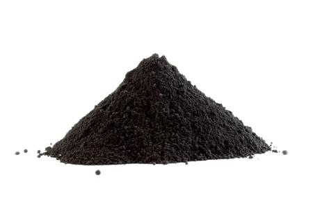 black powder: Pile of black powder isolated on white Stock Photo