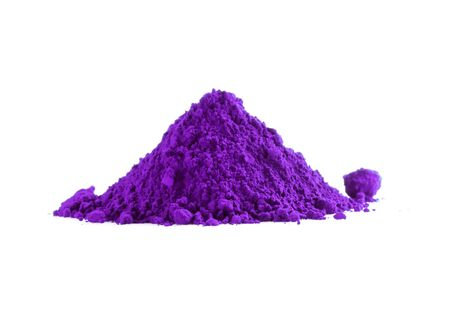 Pile of violet powder isolated on white Stock Photo