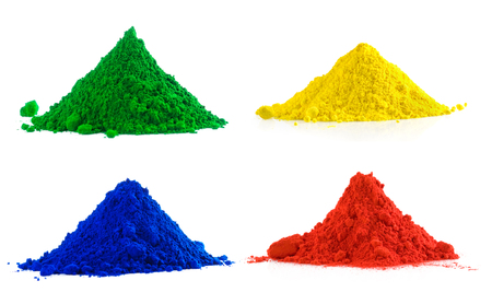 Big collection of colorful powder - yellow, red, green, blue Stock Photo