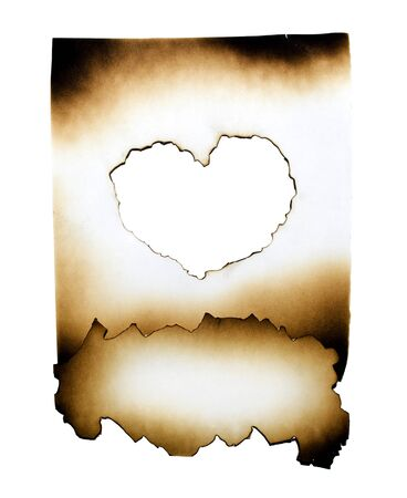 paper rip: Burned paper collage with heart in burned hole on white background with clipping path