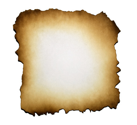 Burned paper on white background with clipping path Banque d'images