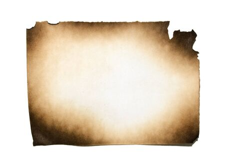 papel quemado: Burned paper on white background with clipping path Foto de archivo