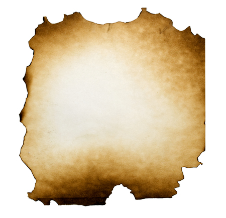 burned paper: Burned paper on white background with clipping path Stock Photo