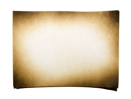 brown paper background: Burned paper on white background with clipping path Stock Photo