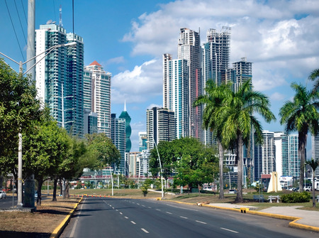 panama city: Modern city with high skyscrapers and the empty road - Panama City