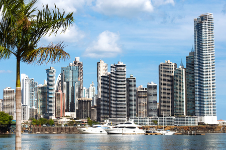 rich: Modern city view - skyscrapers, luxurious yachts and coconut palm with water reflection - Panama City