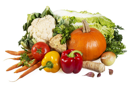 ajo: Veh�culos en el blanco-tomate, zanahoria, piment�n, la coliflor, la col, la cebolla, el apio y el perejil