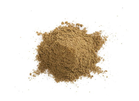 Pile of cumin powder isolated on white background. Heap of ground caraway.