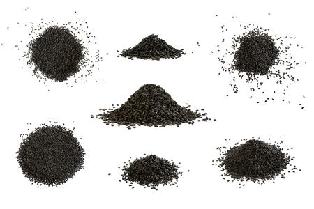 Duży zestaw sterty kminku czarnego na białym tle. Kupka nasion czarnuszki sativa.
