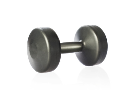 Dumbbell for fitness isolated on white background. Studio shot. Clipping path included. 版權商用圖片