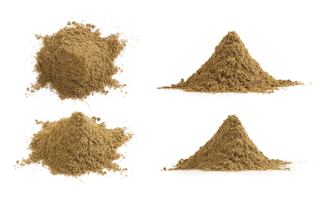 Set of cumin powder pile and texture isolated on white background. Heaps of ground caraway.