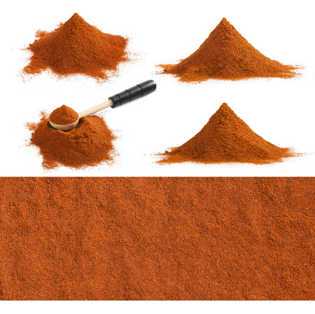 Set of ground red paprika pile and chili texture isolated on white background.