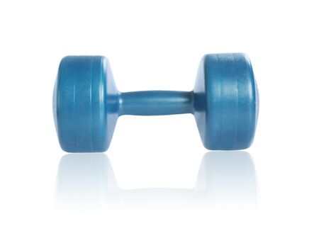 Dumbbell for fitness isolated on white background. Studio shot. Clipping path included. Banque d'images